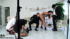 Backstage video from Lisa Sparkle's threesome MMF porn shoot