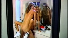 Retro fucking scene from a blond girl with a blameless thin body