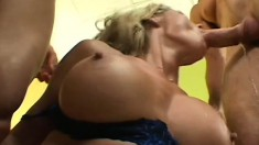 Sexy blonde Milf in stockings has a hard rocking, cock pounding threesome