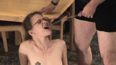 Nasty housewife plays with her pussy while her man pisses in her mouth