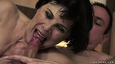 Hungry dude eats her furry muffin and she licks his stiff lollipop