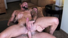Horny tattooed friends Rocco Steele and Sean Duran having gay sex