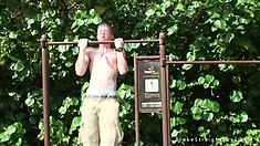 CJ gets talked into going inside and jerk off after he works out