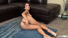 The horny brunette licks her sex toy before it explores every inch of her pussy