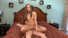 Cute brunette tries to choke down his big dick and gets it hammering her twat