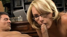 Lustful secretary Amy Moore blows and fucks a big dick in the office