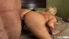 The wild cougar can't get enough of him pumping her cunt hard from behind