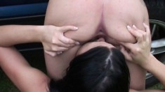 Lesbian love on a tennis court licking cunt and peeing all over