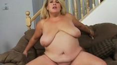 Busty blonde Jenna puts her pretty lips around a big fat bone