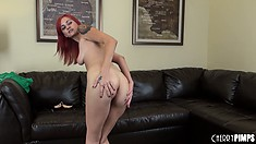 Phoenix Askani shows off her dainty feet and pale redhead skin