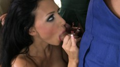 Voluptuous brunette milf has a group of horny guys hammering her holes