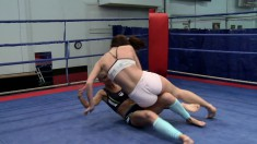 Stunning Betty Saint and hot Sinead wrestle and fuck in the ring