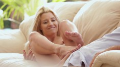 Marvelous young blonde enjoys hot sex with her boyfriend on the couch
