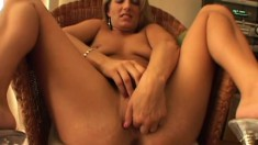 Delightful blonde Porscha Ride touches herself and blows a huge dick