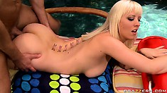 Mr. Poolboy eager fucks her tight ass then unloads his jizz on her butt cheeks