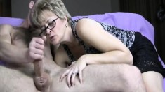 Naughty Wife With Glasses Tracy Offers A Young Stud A Sublime Blowjob