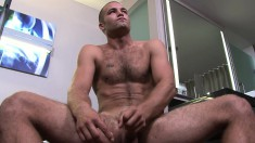 Beautiful hunk Sean works his skillful hands on his throbbing stick