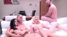 Blonde and brunette nymphos join a hung stud for a torrid threesome