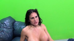 Buxom Sheila gets drilled by a big black dick and sucks him off