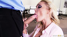 Busty blonde secretary is eager to bare her breast, suck cock and get fucked