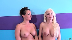 Tory Lane and Britney Amber hug each other and flirt in the nude