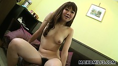 This marvelous Asian babe with a pretty smile and lovely tits has desires to satisfy