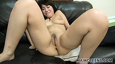 Tomomi gets her freak on after having her pussy fondled and teased