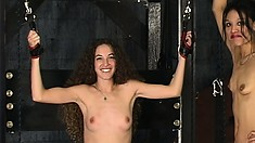 Skinny brunette babes Penny and Nicole confess their BDSM fantasies