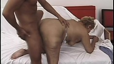 Chubby blonde grandma gets her cunt wrecked by a younger guy