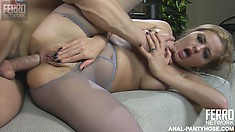 The hot milf Jenny lies by Nicholas' side and rubs her clit while he spoon fucks her ass