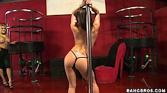 Can Luis get his Roxxx off watching this hot busty brunette pole dance