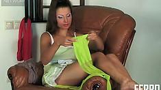 Luscious brunette bombshell teases with her tight nylon leggings