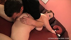 Curvy Felicia gets a massage and his German sausage in her fat hooch