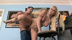 Taking turns, the hot blonde babes get pounded from behind and love it