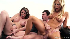 Their hot bodies still tremble with pleasure as he unloads his cum on their pretty faces