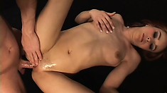 Redhead Cytheria sucks a dick and shags reverse cowgirl style