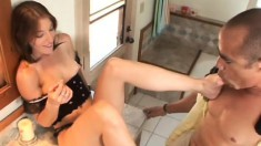 Beautiful brunette Brandi Lyons pleases a black cock with her sexy feet