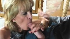 Mature blonde vixen pleases big dick rookie with her anal hole