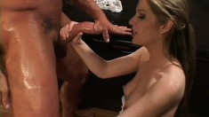 Attractive blonde nurse seduces the doctor and he fucks her holes like she deserves