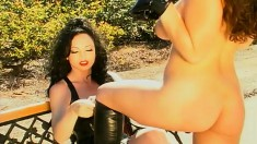 Good pony in full body suit goes outside for training with mistress