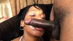 A black babe with a juicy round ass takes some balls deep dicking