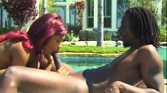 Black chick and black dick are outside giving head and banging her warm twat