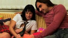 Raven haired coed gets dirty playing with her boyfriend's tool