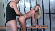 Striking blonde Brynn Tyler gets nailed doggy style in the locker room
