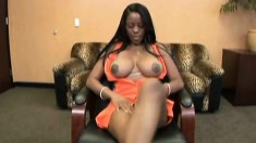 Stacked black beauty gives a deep blowjob and gets nailed hard in POV