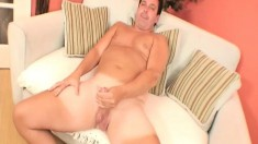 Sexy stud gets rid of his clothes and drives his large dick to orgasm