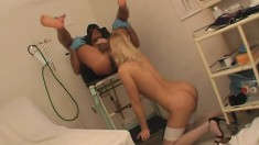 Nasty blonde in white stockings enjoys a rough drilling in the clinic