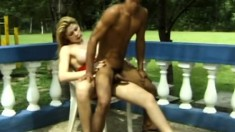 Joyla Lisboa and Alexandre in dick sucking and tranny butt fucking outside