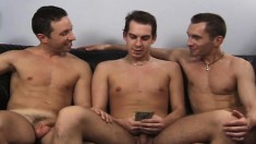 Three gays ride it up the ass, suck on their pricks and jerk off