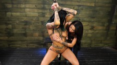 Bodacious Tattooed Brunette Alby Rydes Surrenders Her Body To Esmi Lee